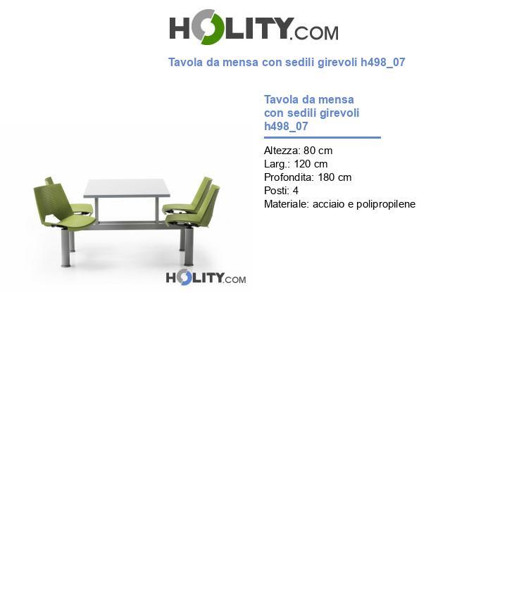 Tavola da mensa con sedili girevoli h498_07