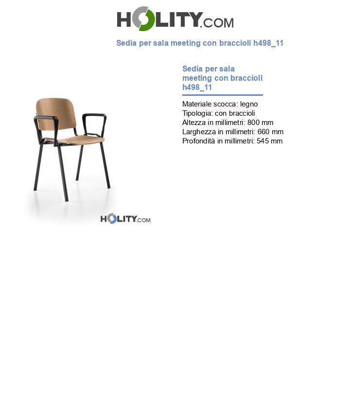 Sedia per sala meeting con braccioli h498_11