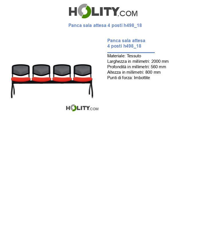 Panca sala attesa 4 posti h498_18