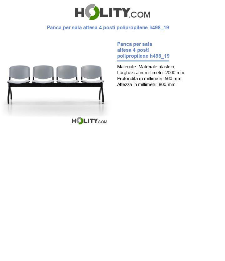Panca per sala attesa 4 posti polipropilene h498_19