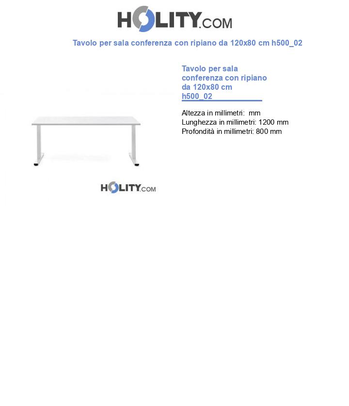Tavolo per sala conferenza con ripiano da 120x80 cm h500_02