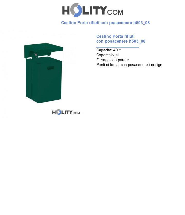Cestino Porta rifiuti con posacenere h503_08