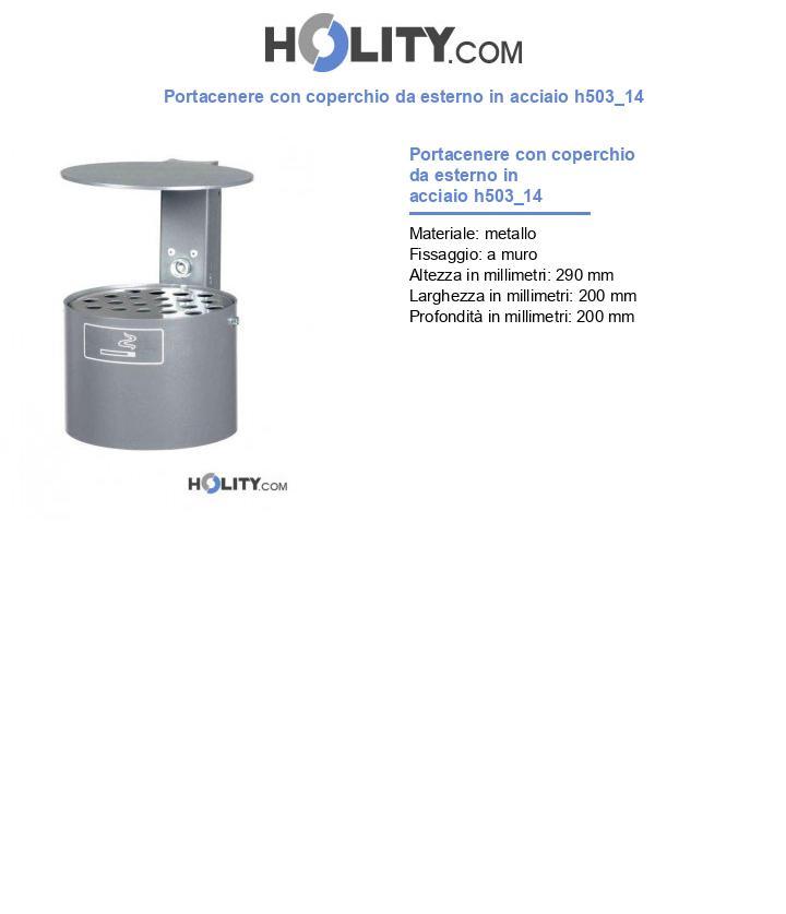 Portacenere con coperchio da esterno in acciaio h503_14
