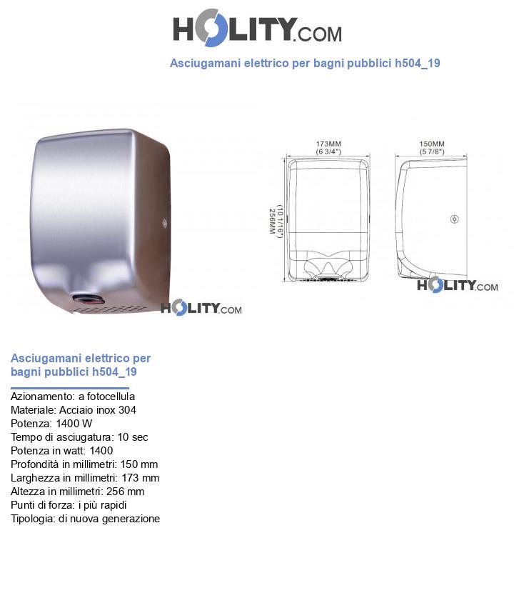Asciugamani elettrico per bagni pubblici h504_19