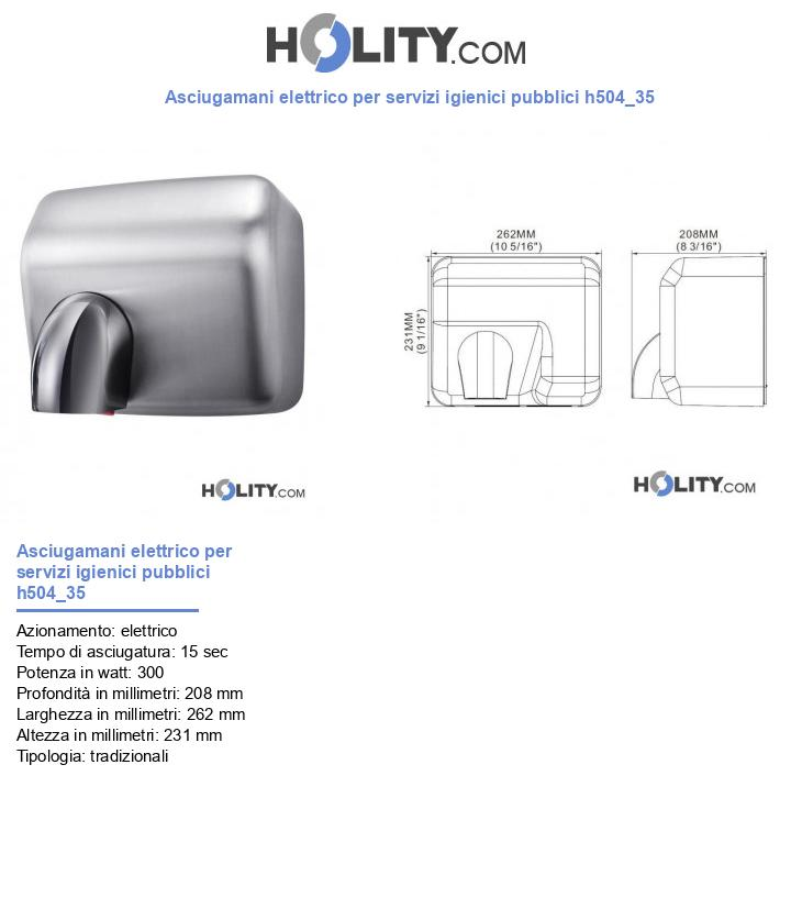 Asciugamani elettrico per servizi igienici pubblici h504_35