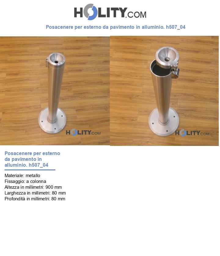 Posacenere per esterno da pavimento in alluminio. h507_04