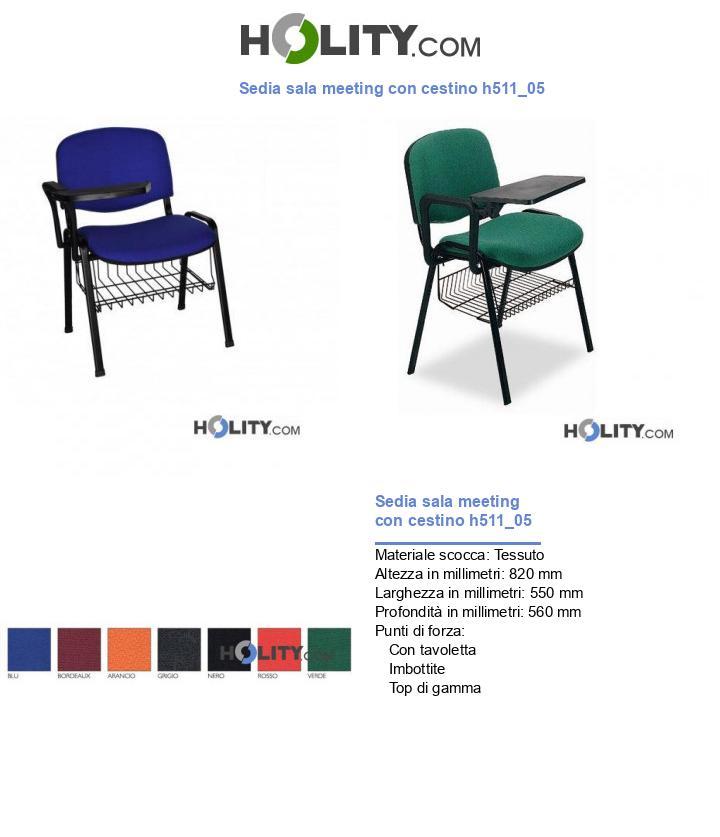 Sedia sala meeting con cestino h511_05