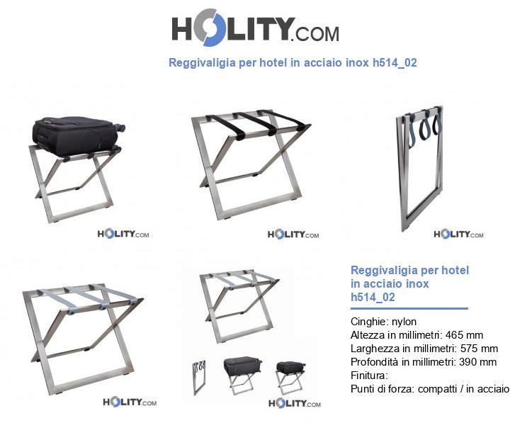 Reggivaligia per hotel in acciaio inox h514_02
