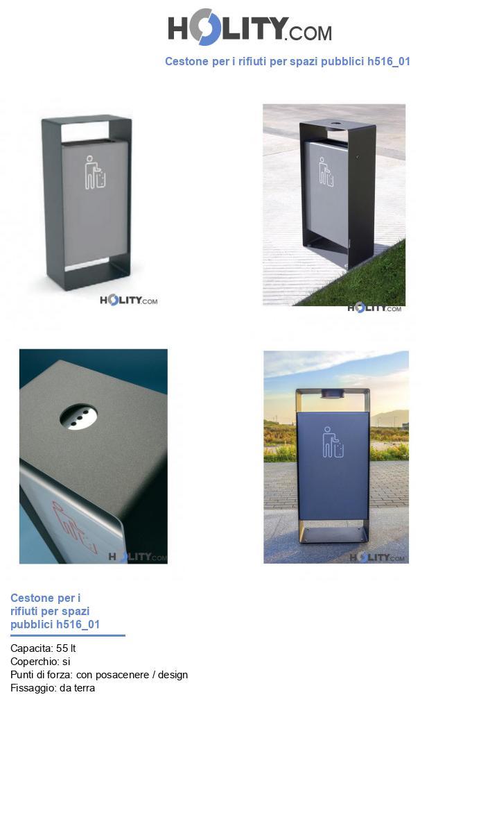 Cestone per i rifiuti per spazi pubblici h516_01