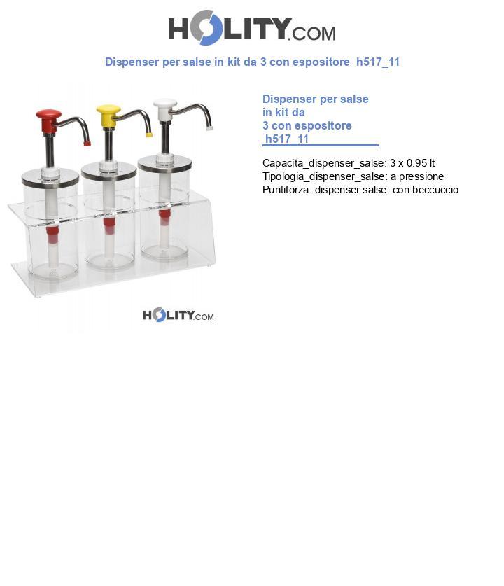 Dispenser per salse in kit da 3 con espositore  h517_11