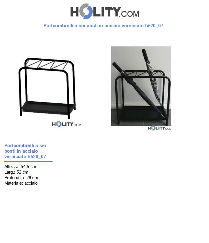 Portaombrelli a sei posti in acciaio verniciato h520_07