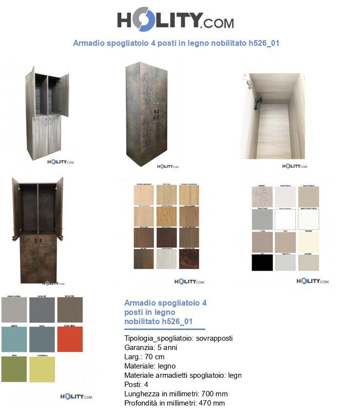 Armadio spogliatoio 4 posti in legno nobilitato h526_01
