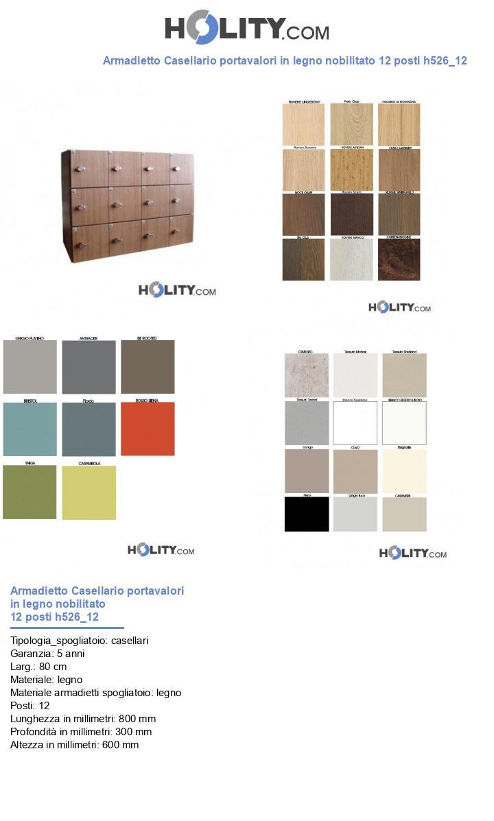 Armadietto Casellario portavalori in legno nobilitato 12 posti h526_12
