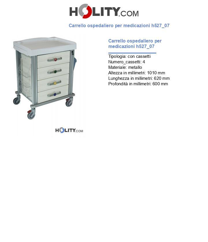 Carrello ospedaliero per medicazioni h527_07
