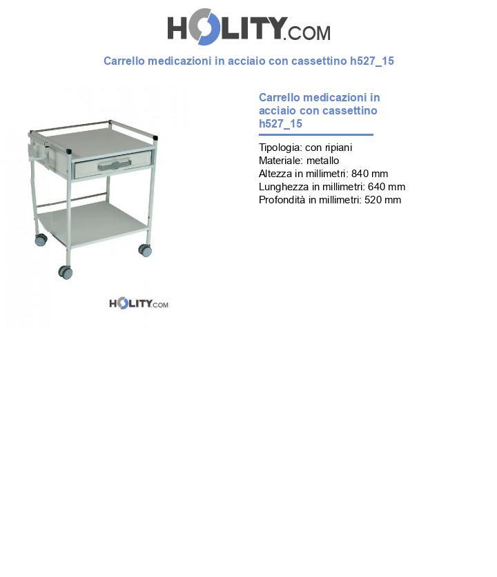 Carrello medicazioni in acciaio con cassettino h527_15