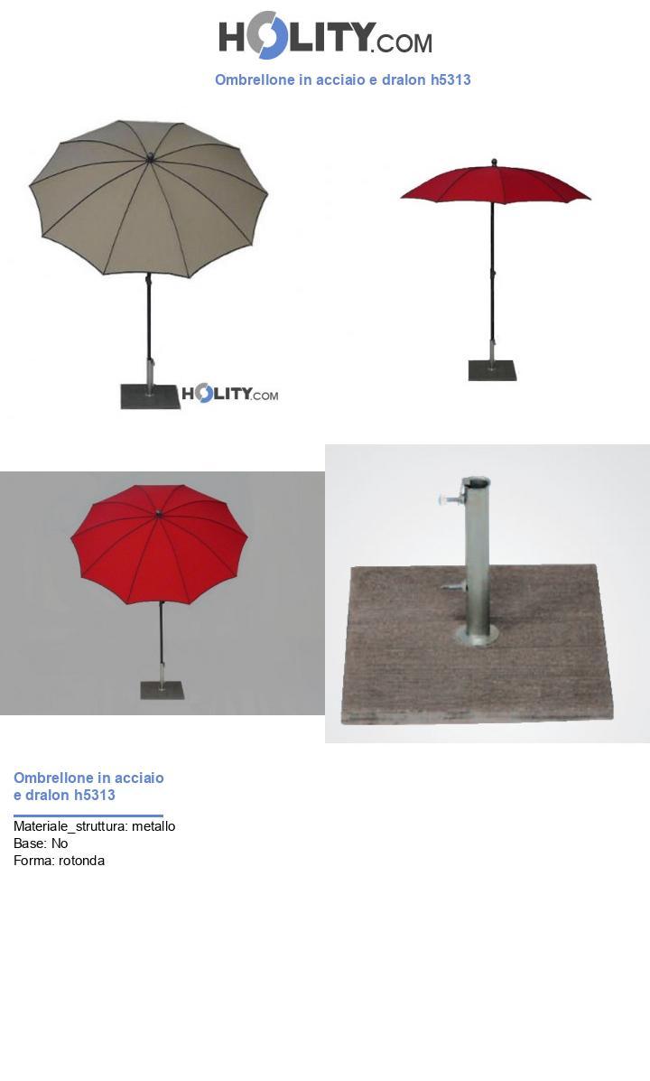 Ombrellone in acciaio e dralon h5313