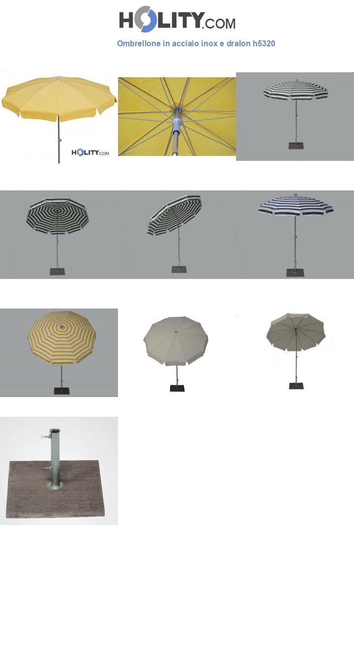 Ombrellone in acciaio inox e dralon h5320