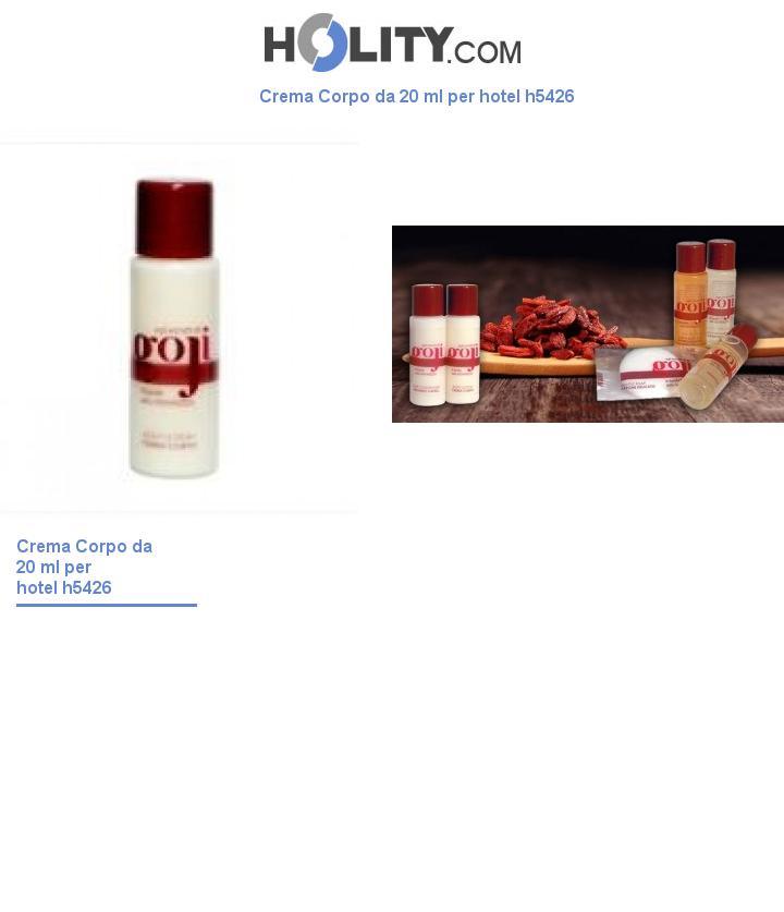 Crema Corpo da 20 ml per hotel h5426