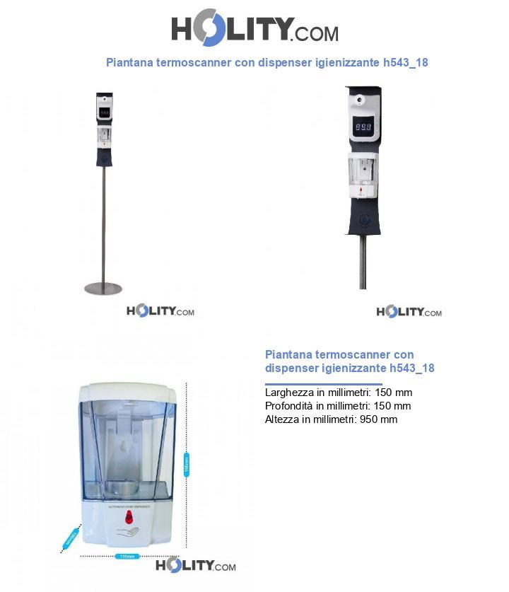 Piantana termoscanner con dispenser igienizzante h543_18