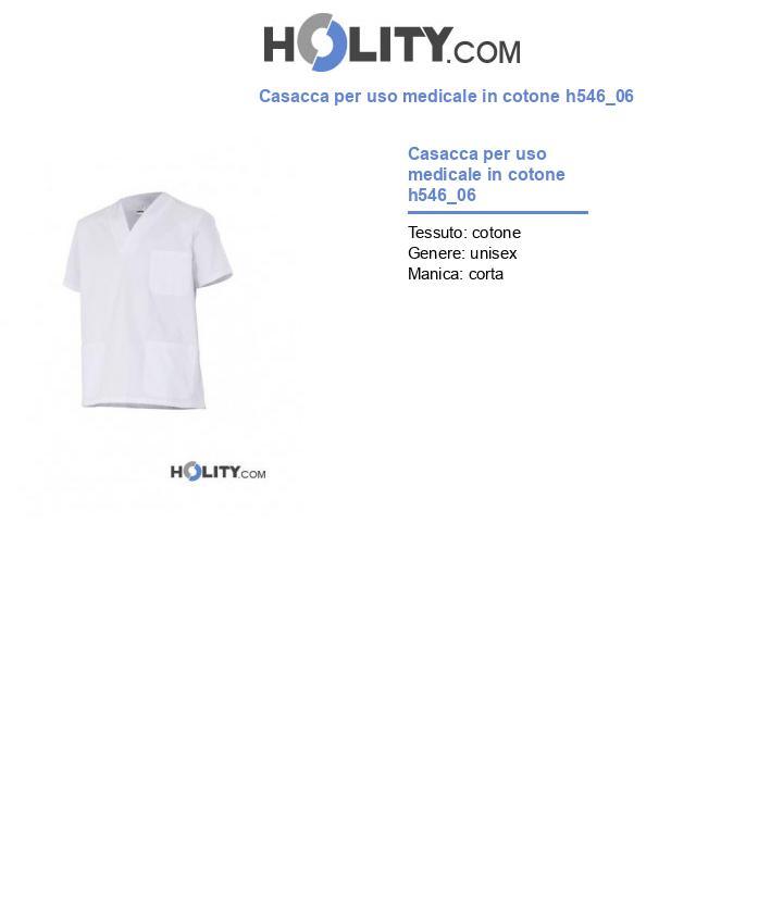 Casacca per uso medicale in cotone h546_06