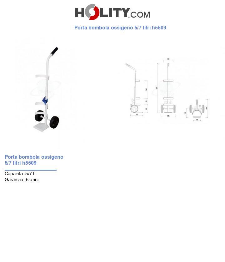 Porta bombola ossigeno 5/7 litri h5509