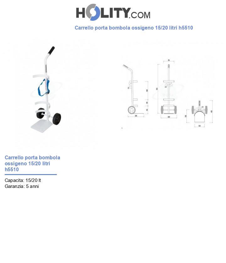 Carrello porta bombola ossigeno 15/20 litri h5510