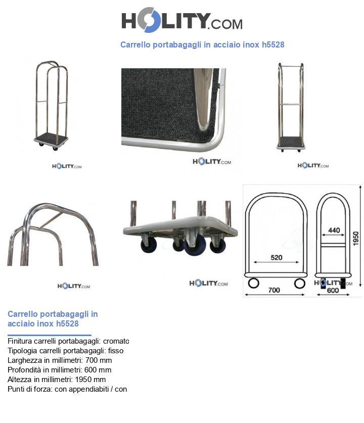 Carrello portabagagli in acciaio inox h5528