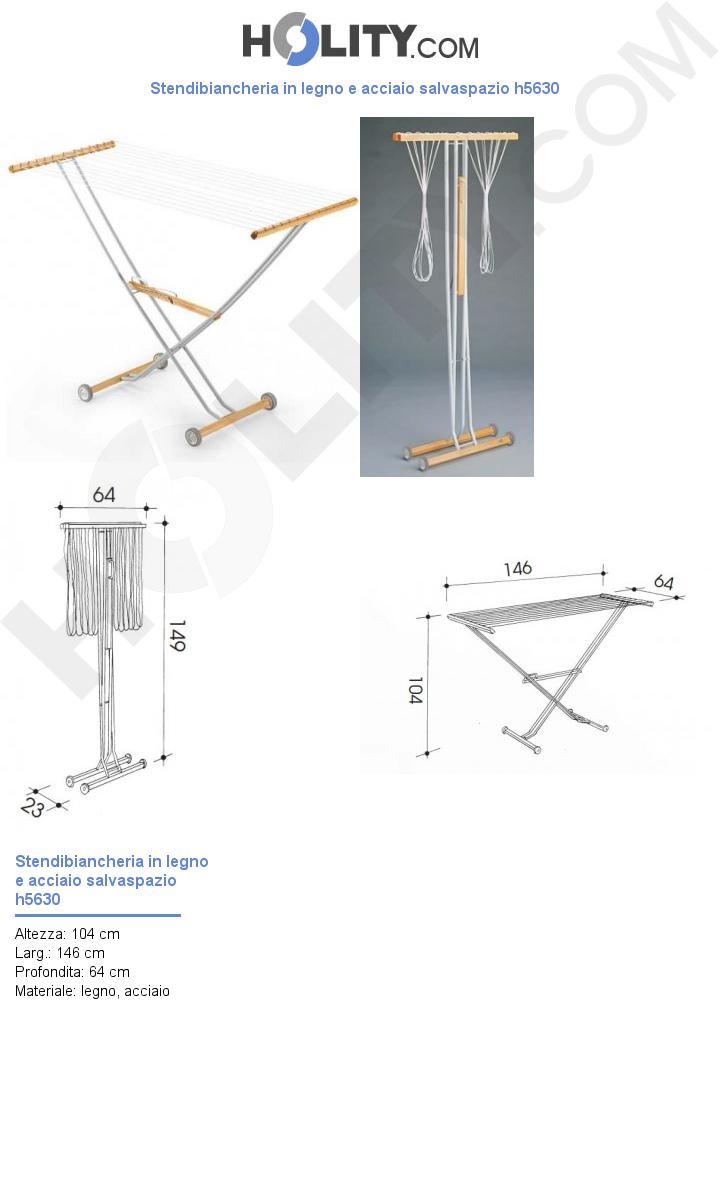 Stendibiancheria in legno e acciaio salvaspazio h5630