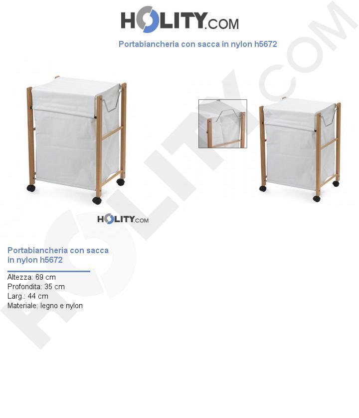 Portabiancheria con sacca in nylon h5672