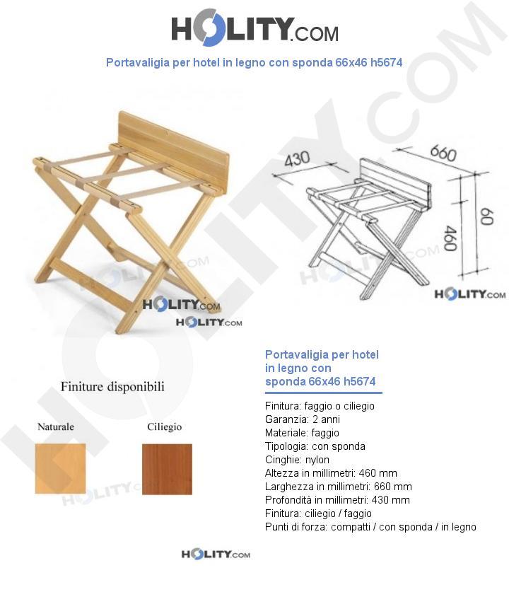 Portavaligia per hotel in legno con sponda 66x46 h5674