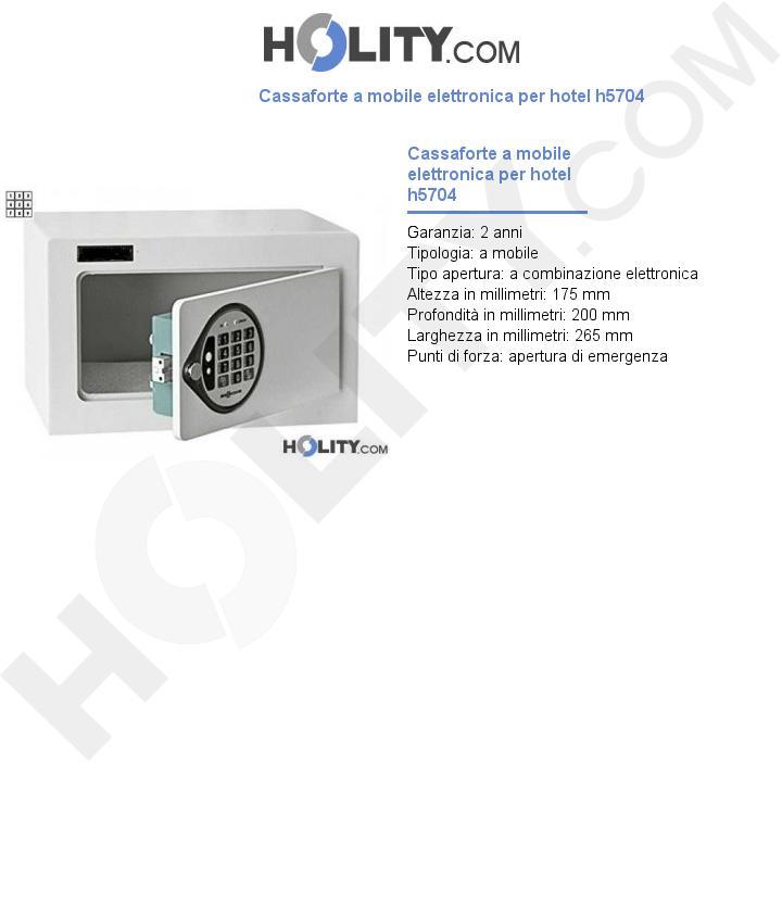 Cassaforte a mobile elettronica per hotel h5704
