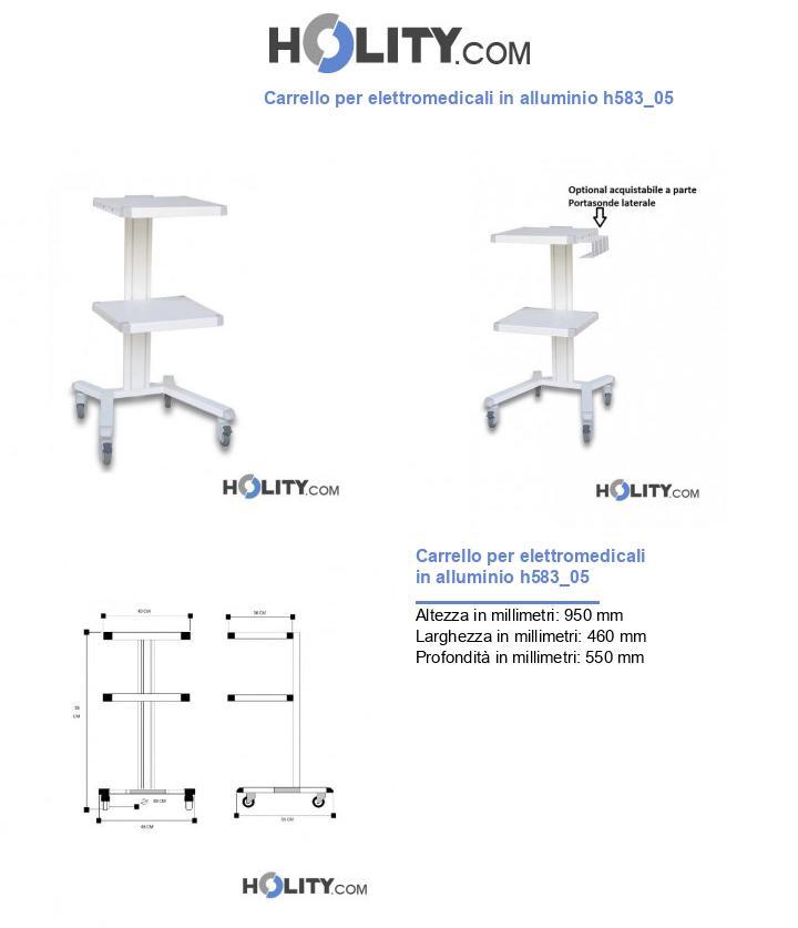 Carrello per elettromedicali in alluminio h583_05