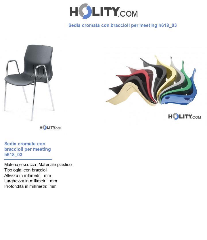Sedia cromata con braccioli per meeting h618_03