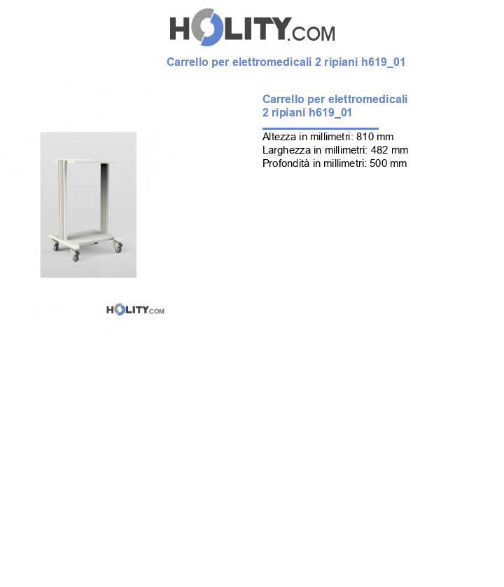 Carrello per elettromedicali 2 ripiani h619_01
