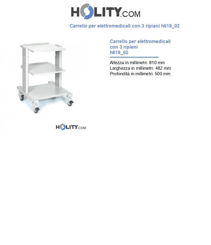 Carrello per elettromedicali con 3 ripiani h619_02