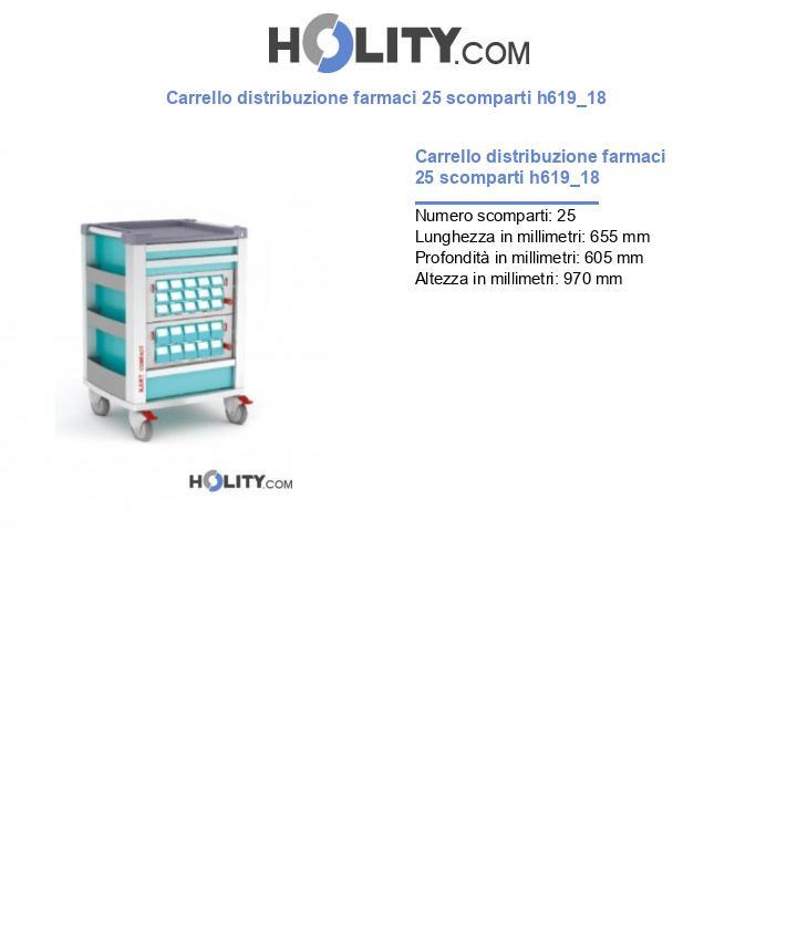 Carrello distribuzione farmaci 25 scomparti h619_18
