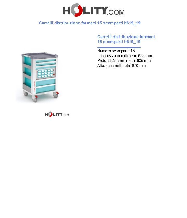 Carrelli distribuzione farmaci 15 scomparti h619_19