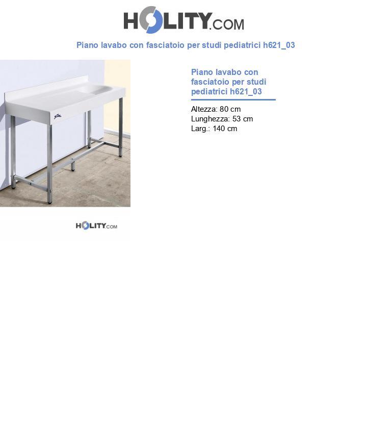 Piano lavabo con fasciatoio per studi pediatrici h621_03