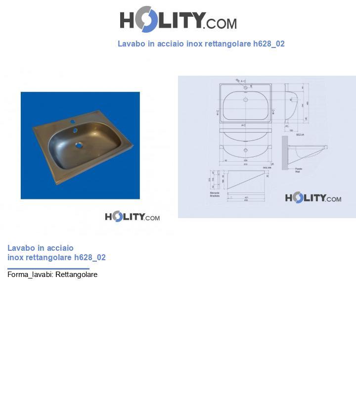 Lavabo in acciaio inox rettangolare h628_02