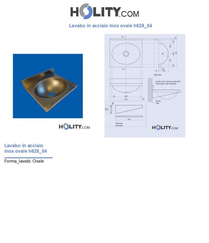 Lavabo in acciaio inox ovale h628_04