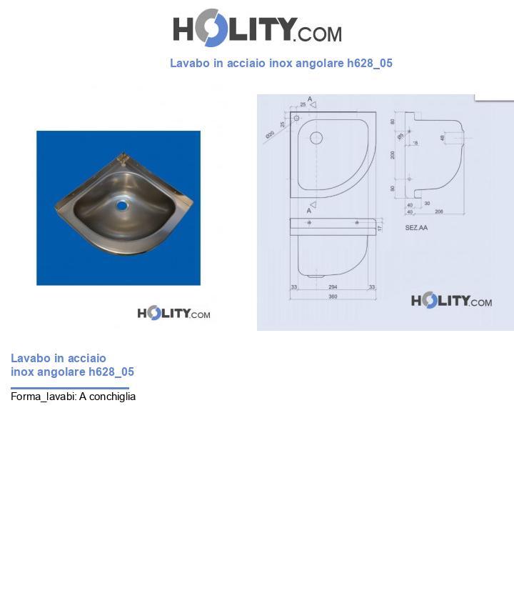 Lavabo in acciaio inox angolare h628_05