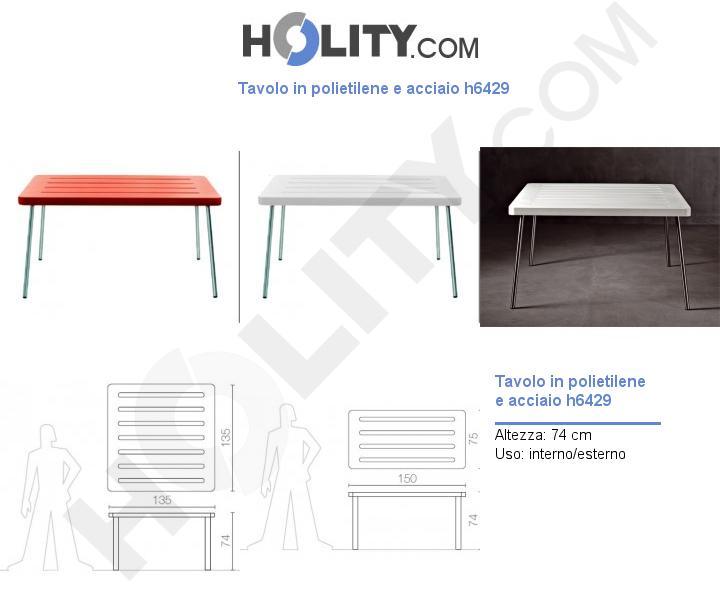 Tavolo in polietilene e acciaio h6429