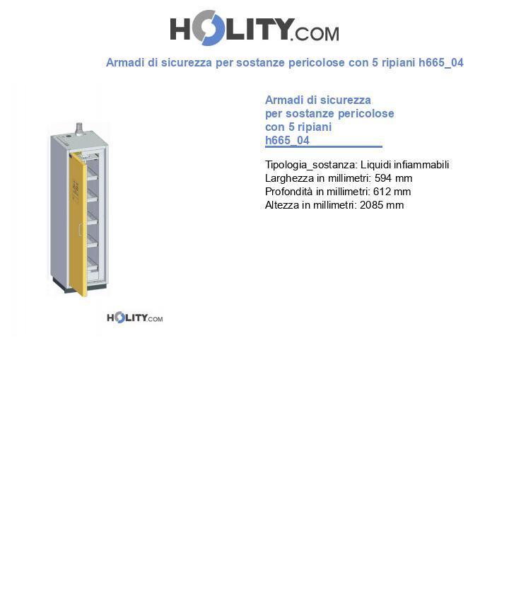 Armadi di sicurezza per sostanze pericolose con 5 ripiani h665_04