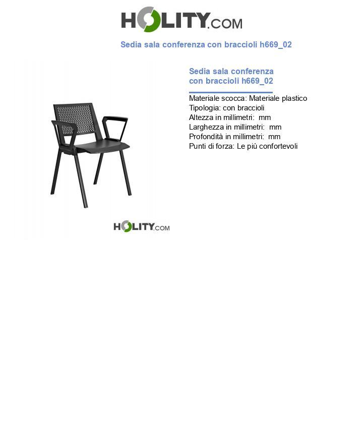 Sedia sala conferenza con braccioli h669_02