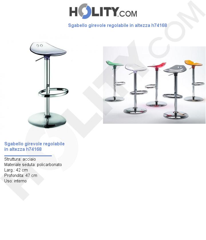 Sgabello girevole regolabile in altezza h74168