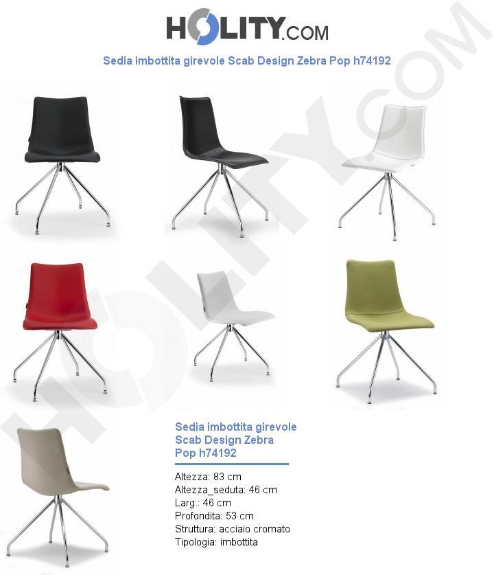 Sedia imbottita girevole Scab Design Zebra Pop h74192