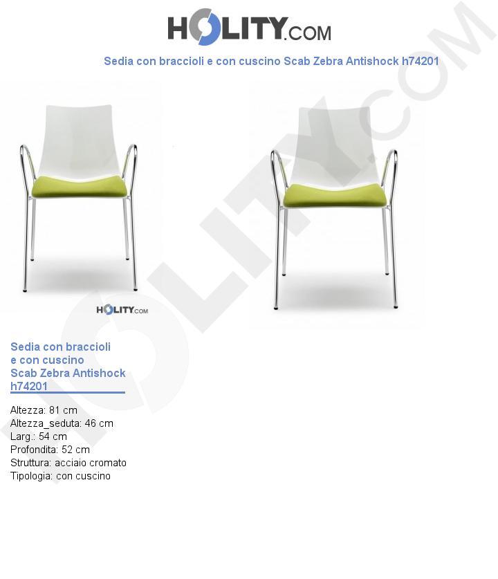 Sedia con braccioli e con cuscino Scab Zebra Antishock h74201