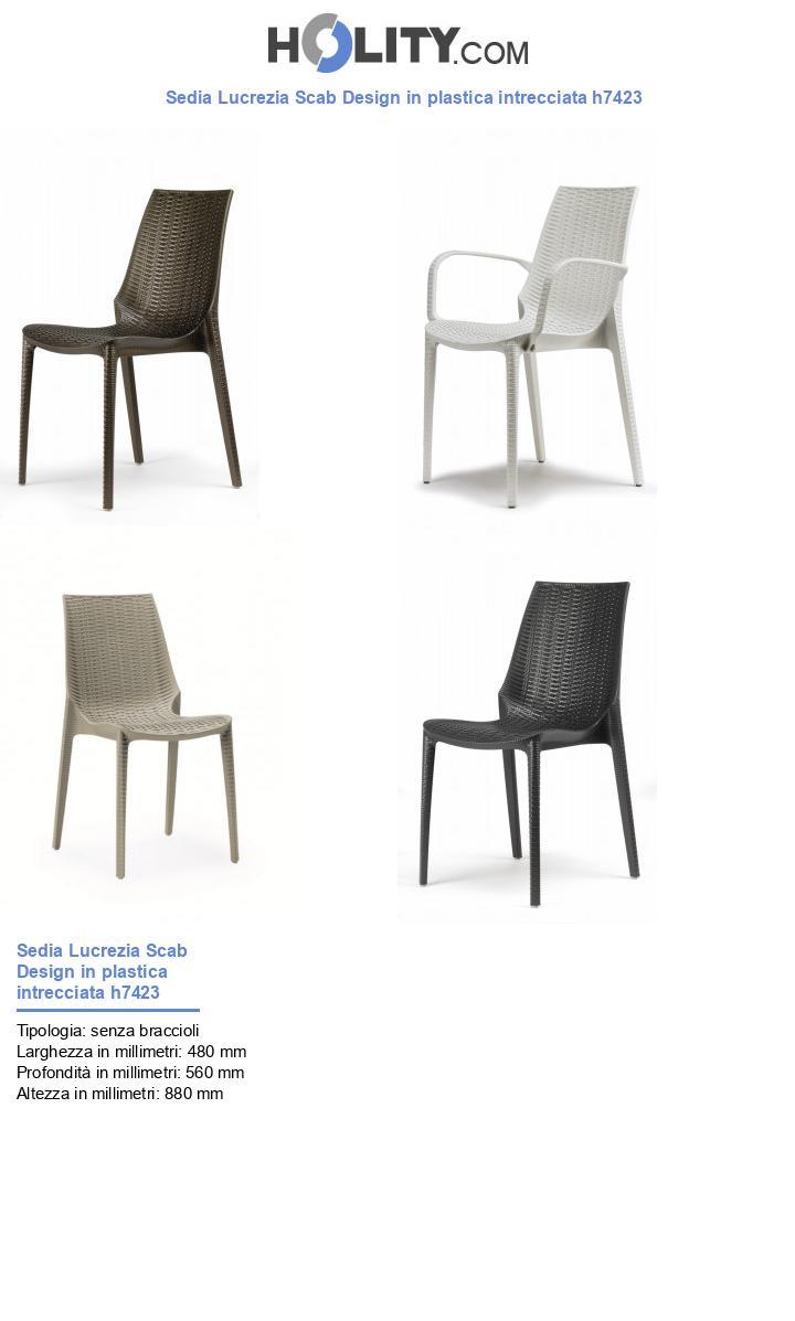 Sedia Lucrezia Scab Design in plastica intrecciata h7423