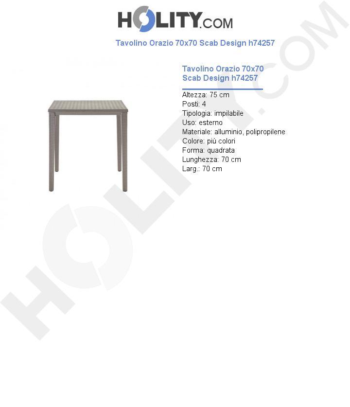 Tavolino Orazio 70x70 Scab Design h74257