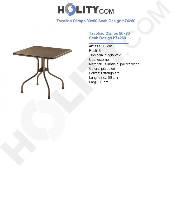 Tavolino Olimpo 80x80 Scab Design h74260